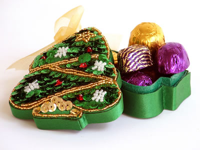 Chocolates in a Christmas Tree Gift Box