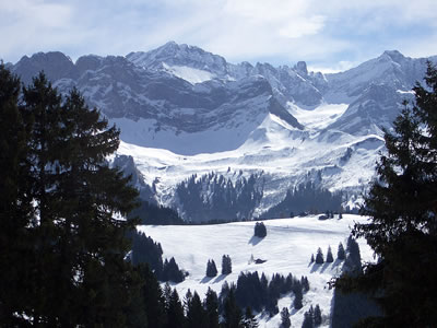 Winter snow fields and mountains in Switzerland